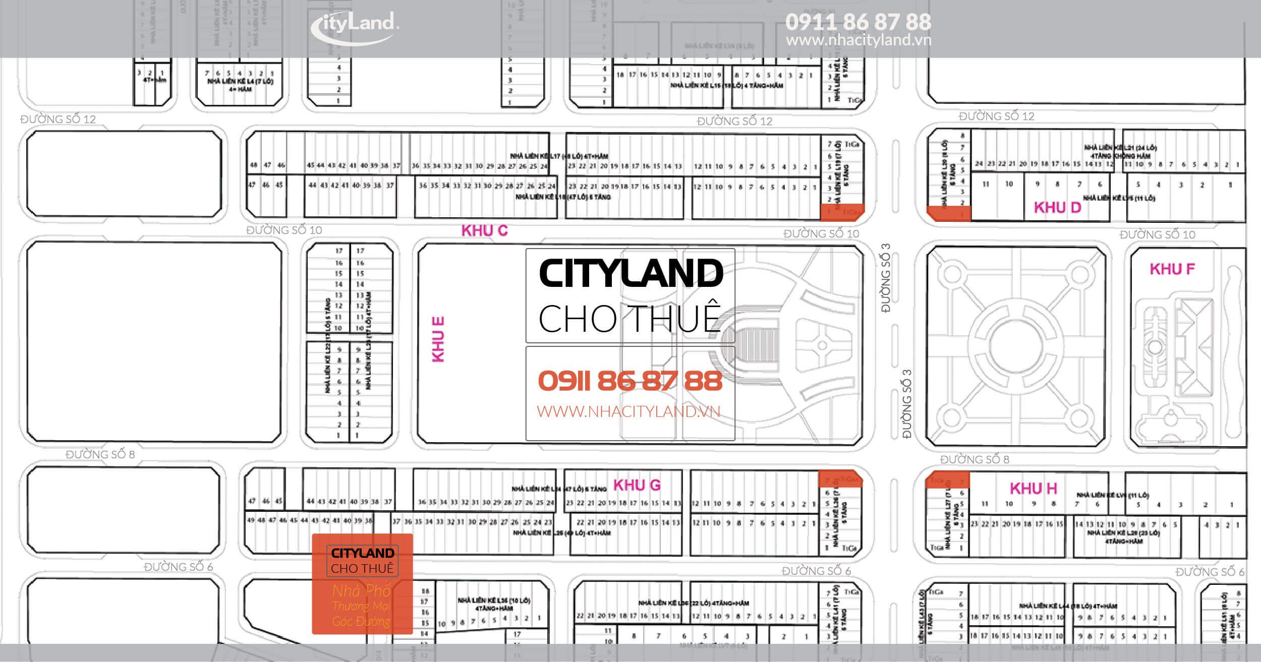 Cho thuê Nhà phố CityLand Góc đường số 3 và công viên trung tâm